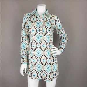 NEW YORK & CO ABSTRACT HALF BUTTON TUNIC BLOUSE